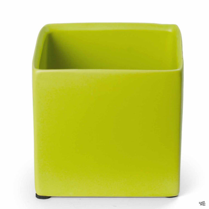 Cube Cache Pot 4.5 inch Lime Green