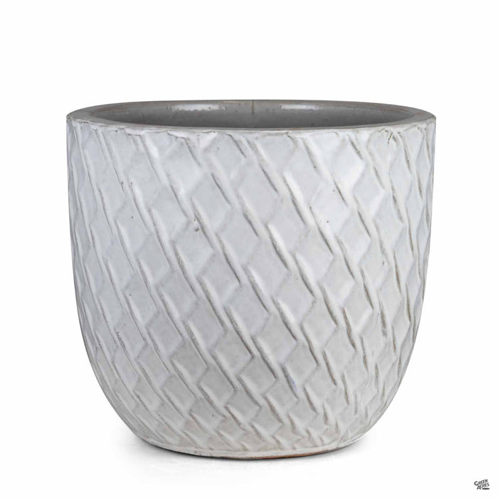 Berber Planter Lightening Pot 14 inch in White