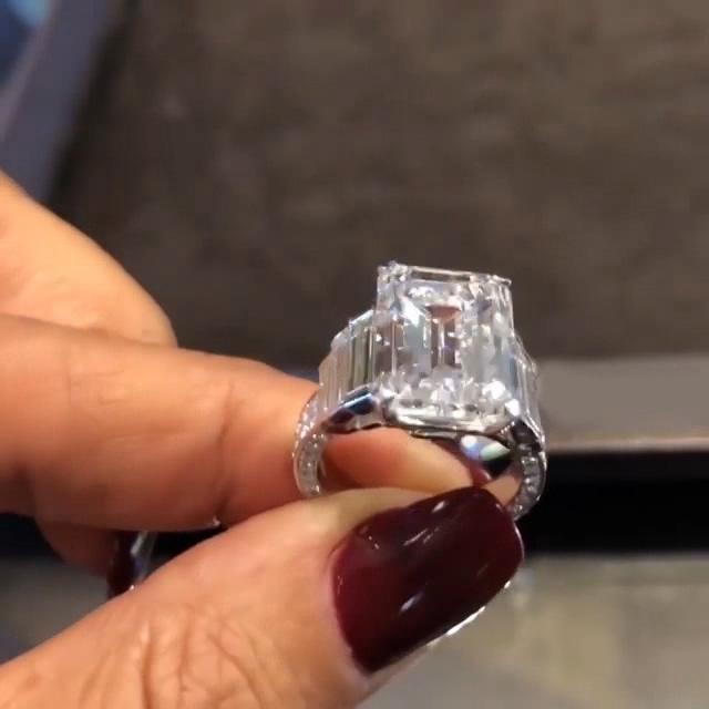 63c2c02eaab6f Three Stone 3.85 CT Emerald Cut Lab-created White Sapphire Sterling Silver  Engagement Ring