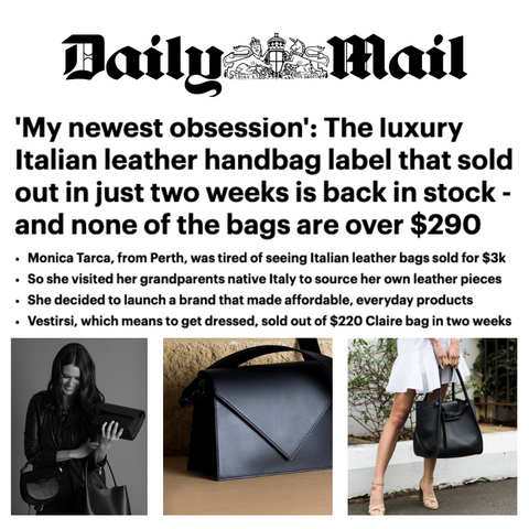 VESTIRSI Luxury Leather Handbags featured in Daily Mail UK