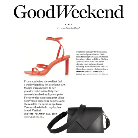 VESTIRSI Italian Luxury leather in the Good Weekend Magazine