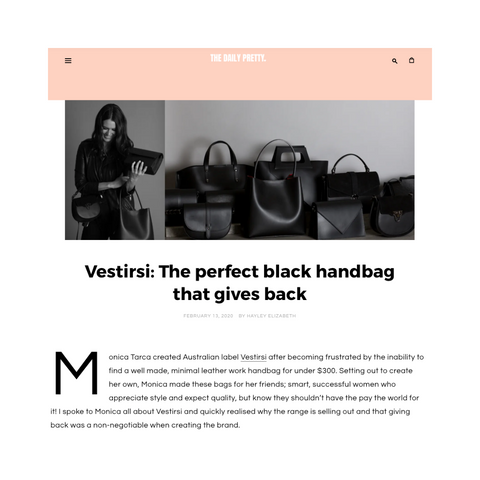 "THE DAILY PRETTY ""Vestirsi: The perfect black handbag that gives back"""