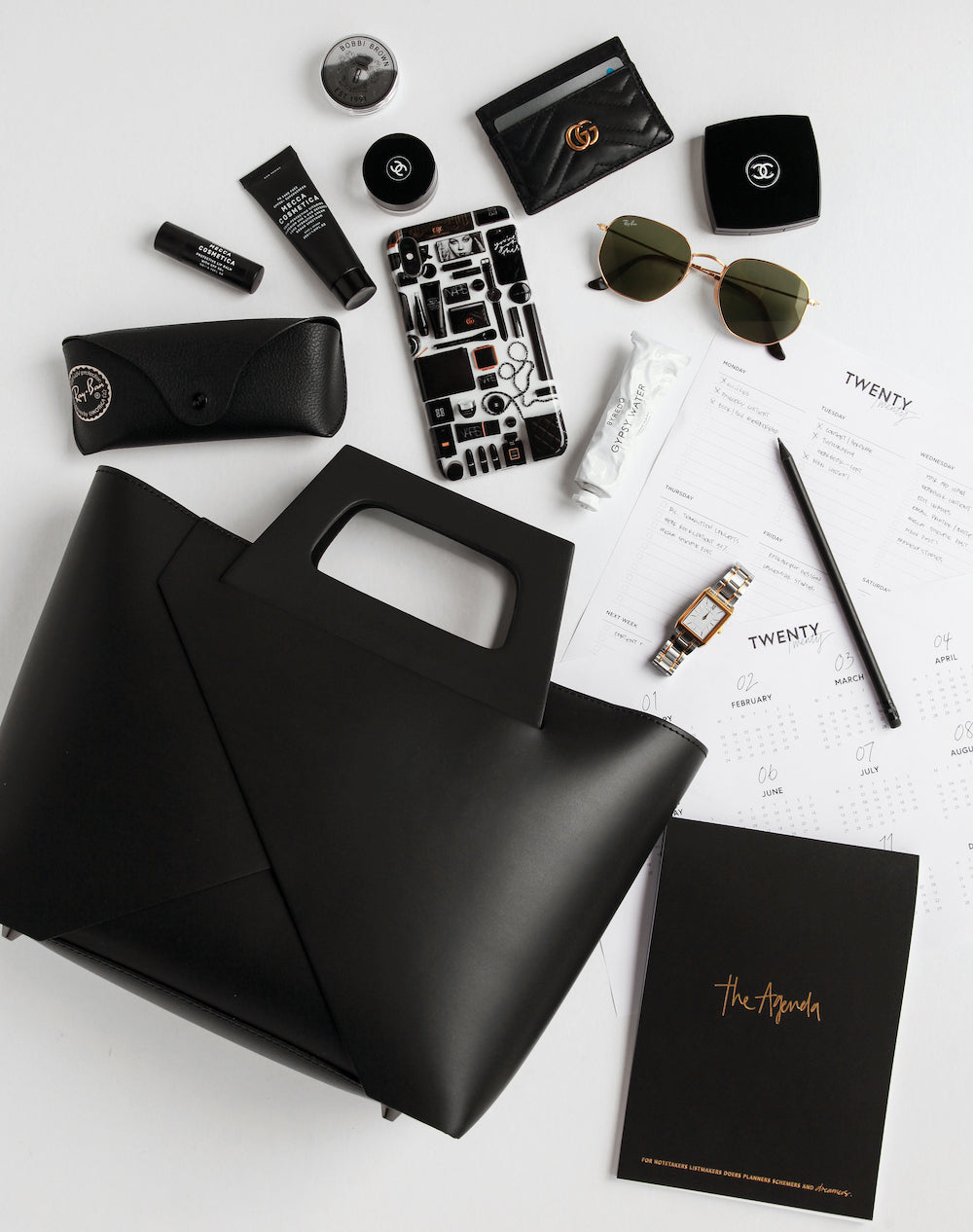 The Agenda notebook alongside VESTIRSI Lindsay bag and some of Carissa's other monochrome daily essentials