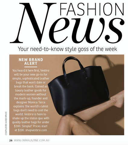 VESTIRSI Luxury Leather handbags in OK Magazine
