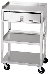 "Stainless Steel Cart - 3 Shelf w/ Drawer - (30""H x 19""W x 17""D)"