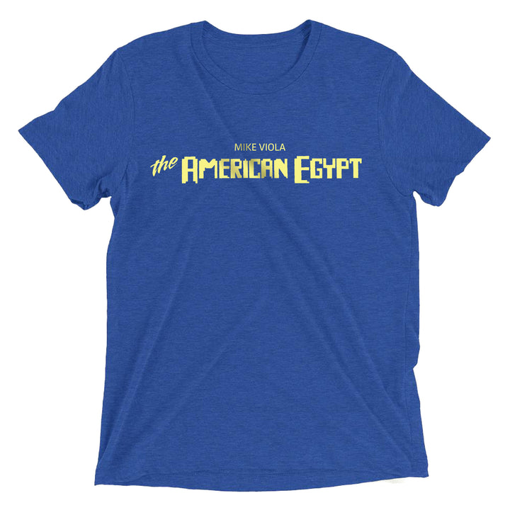The American Egypt by Mike Viola Logo Blue T-shirt