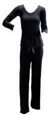 OCTAVE Ladies Viscose Long Sleeve Lace Trim V Neck Top & Long Pants Pyjama Set