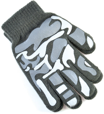 Boys Camoflague Gripper Gloves Gray