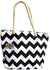 OCTAVE Summer Beach Tote Handbag Zigzag Design - Black & White