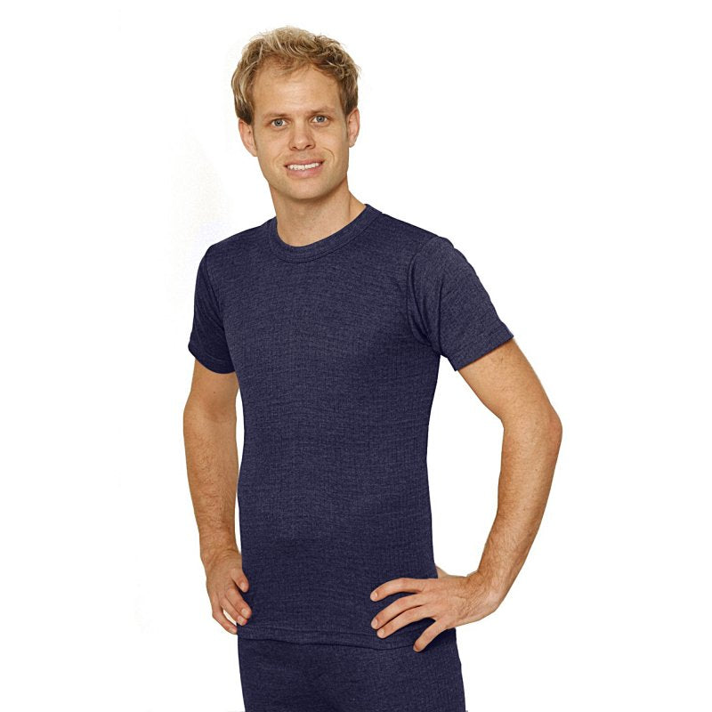 OCTAVE Mens Thermal Underwear Short Sleeve T-Shirt - Denim