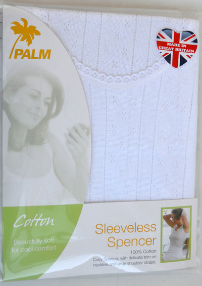 Palm British Made Ladies/Womens 100% Cotton Fancy Knit Sleeveless Spencer Vest