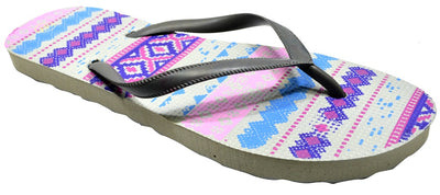 OCTAVE Ladies Summer Beach Wear Flip Flops - Aztec Design