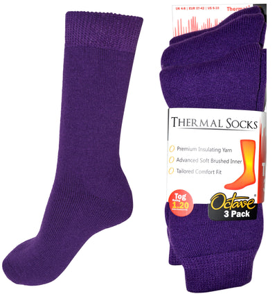 OCTAVE Womens Thermal Socks - 1.2 TOG Pack of 3 - Purple
