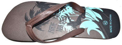 OCTAVE Mens Surfing Design Flip Flops - Brown