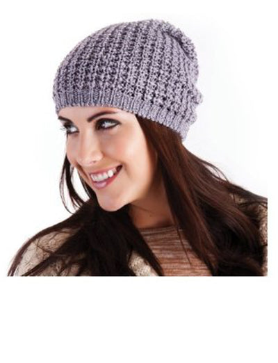 Ladies Knitted Slouch Beanie Hat Gray