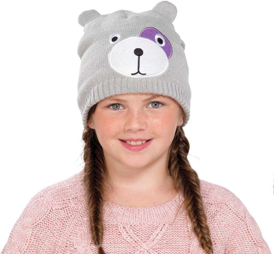 Grey Knitted Teddy Bear Face Hat