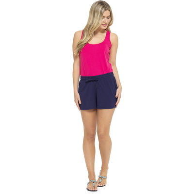 Ladies Jersey Cotton Summer Beach Shorts - Navy