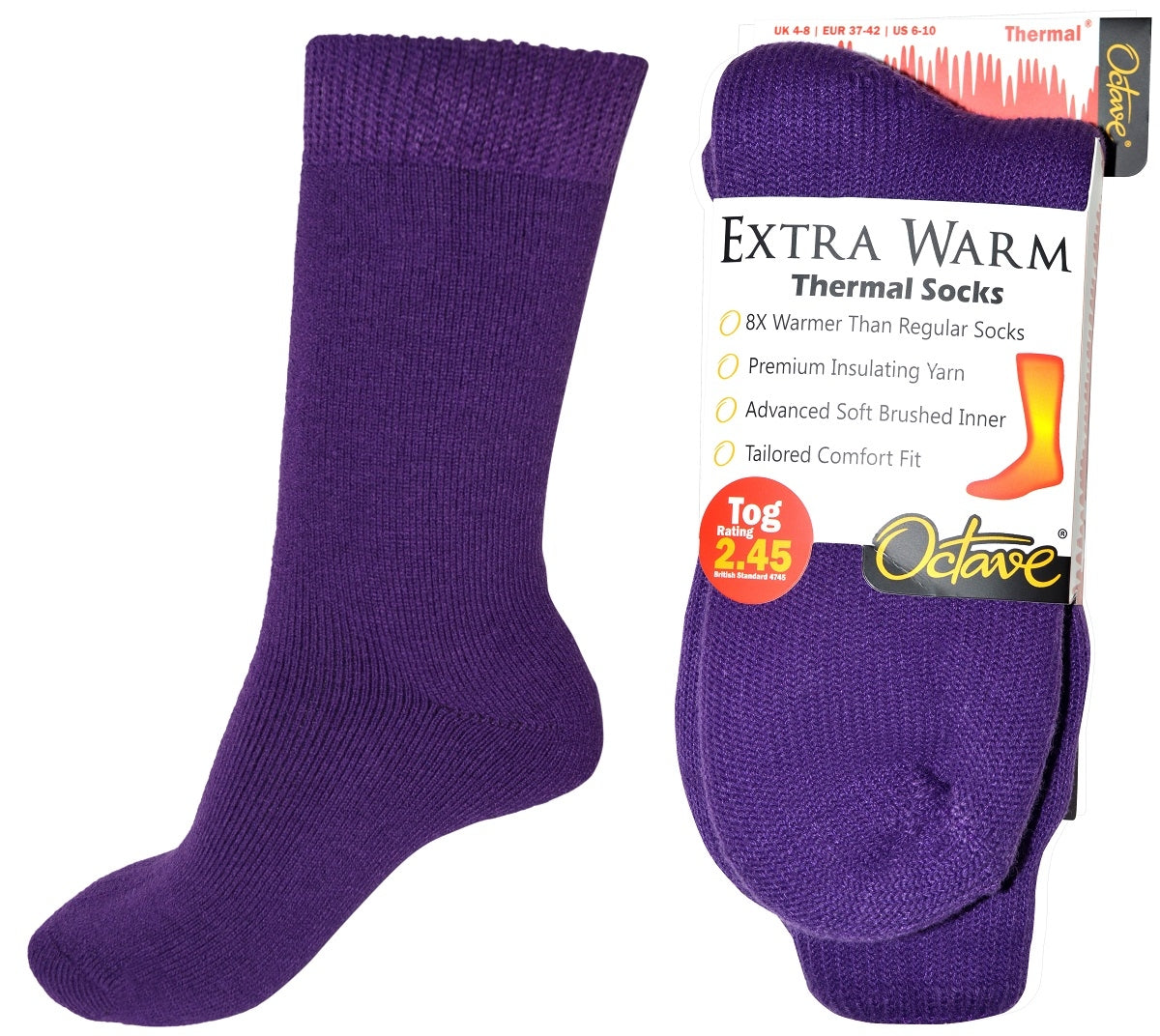 OCTAVE Womens Extra Warm Thermal Socks 2.45 TOG - Purple