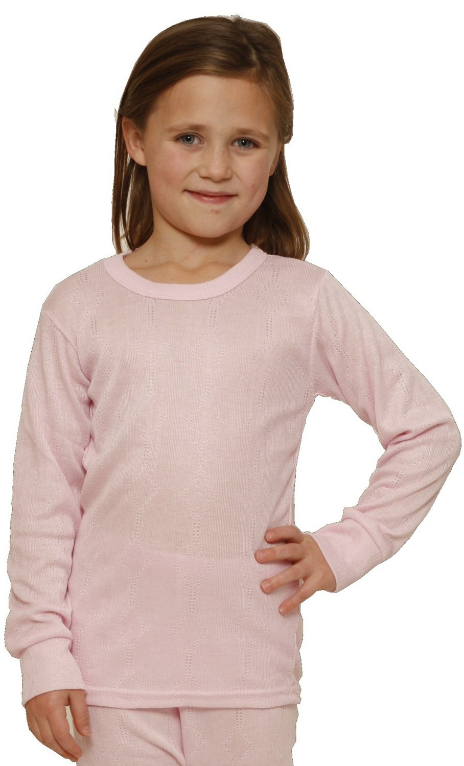 Octave® Girls Thermal Underwear Fancy Knit Long-Sleeve Top