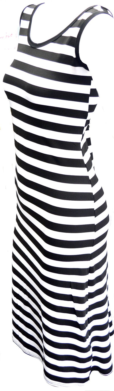 OCTAVE Ladies Maxi Dress Striped Design - Black & White