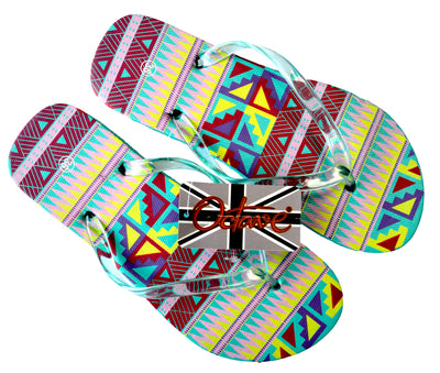 OCTAVE Ladies Summer Beach Wear Flip Flops Wave Design - Teal