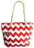 OCTAVE Summer Beach Tote Handbag Zigzag Design - Red & White