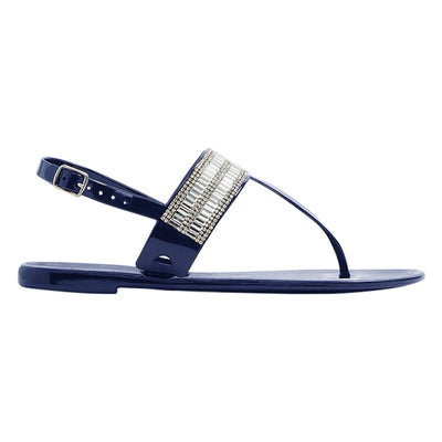 Flat Jelly Sandals Side Navy
