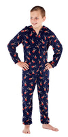 Christmas Warm Hooded Onesie Navy