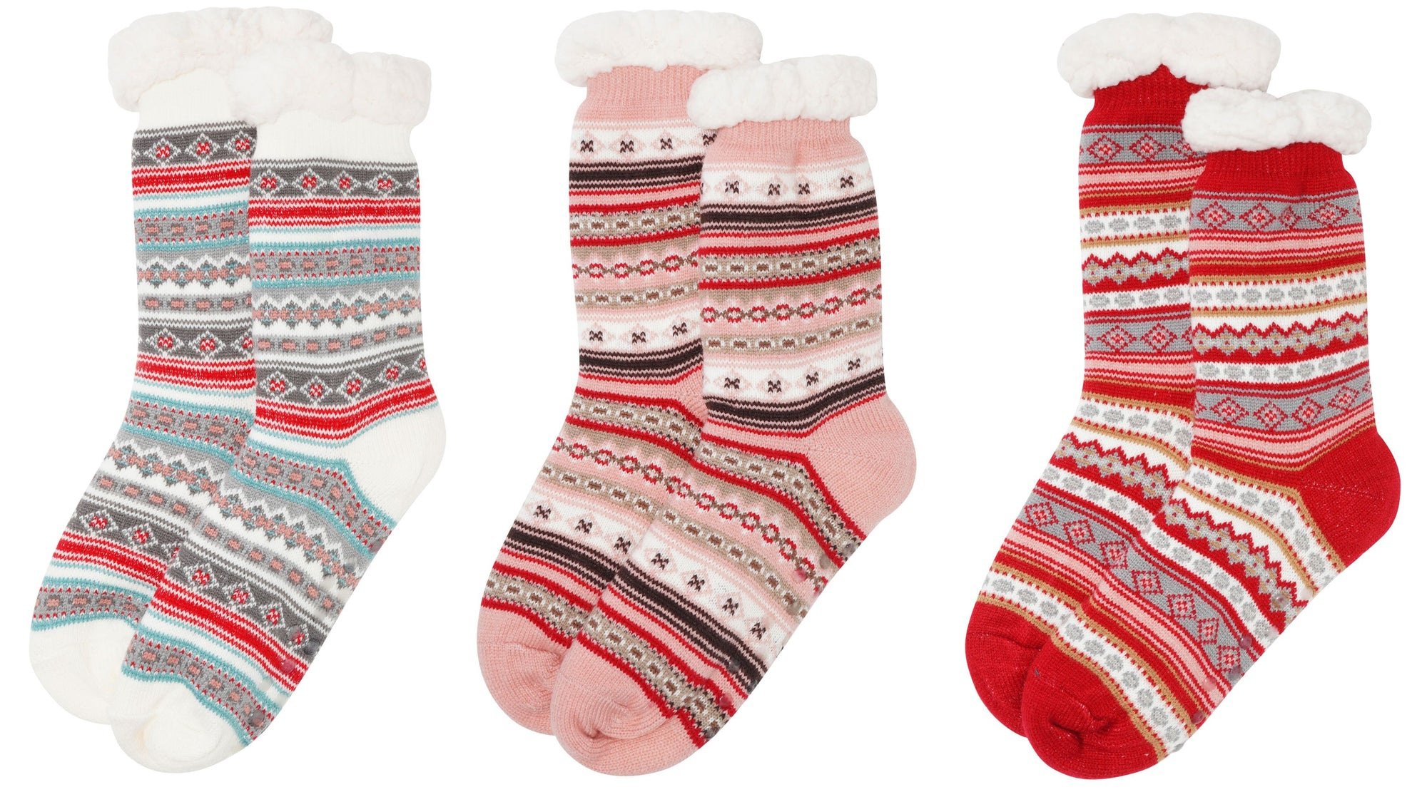 OCTAVE Ladies Fleece Lined Fairisle Cosy Thermal Slipper Socks With Grip Soles