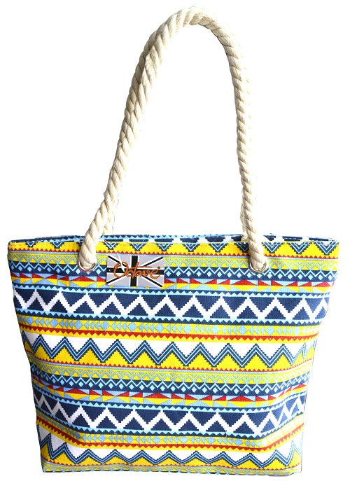 OCTAVE Summer Beach Tote Handbags Collection - Chevron Blue Mix