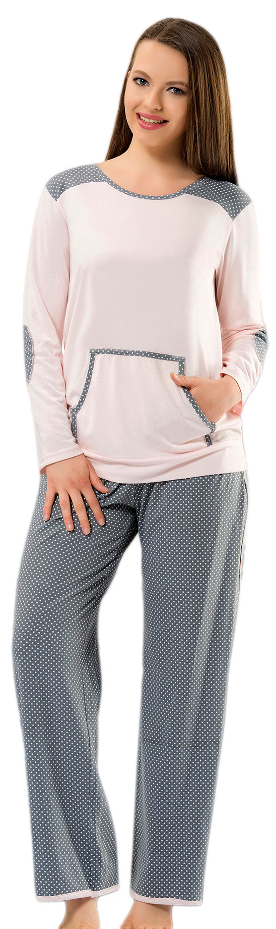 Long Sleeve Round Neck Top & Polka Dot Long Pants Pyjama Set