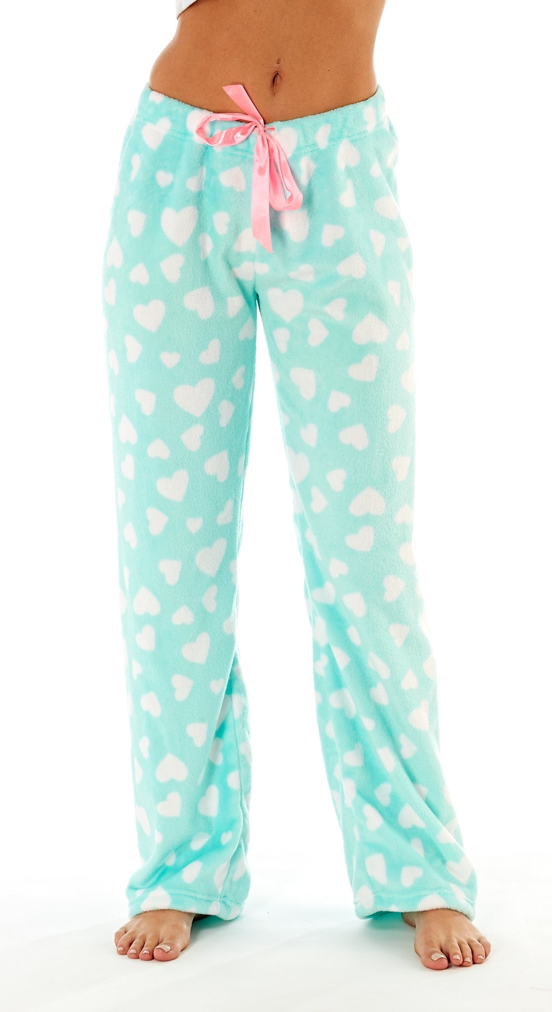 Octave Ladies Loungewear Pants Pyjama Bottoms - Aqua Hearts