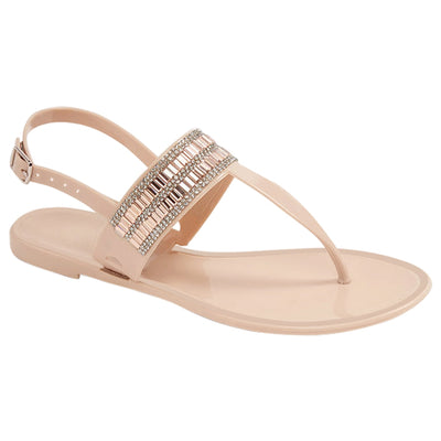 Flat Jelly Sandals - Nude