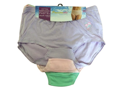 Pack of 3 : Passionelle® Womens Soft 100% Cotton Embrodiery Pastel Mama Briefs