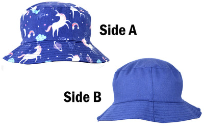 OCTAVE Reversible Bucket Hat - Blue Unicorn Print / Black