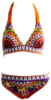 Tie Up & Buckle Straps Bikini Set