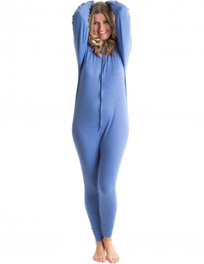 OCTAVE Womens Thermal Underwear All In One Union Suit / Thermal Body Suit - Blue