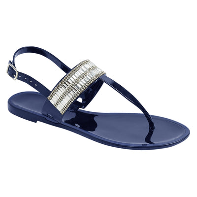 Flat Jelly Sandals Navy Buckle Strap