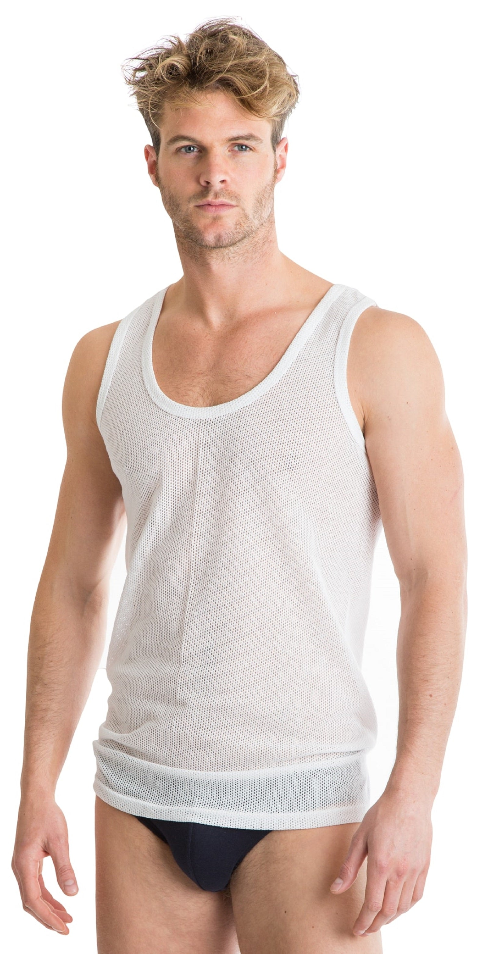 OCTAVE 2 Pack Mens Cotton Rich Classic Eyelet String Mesh Net Sleeveless Vests