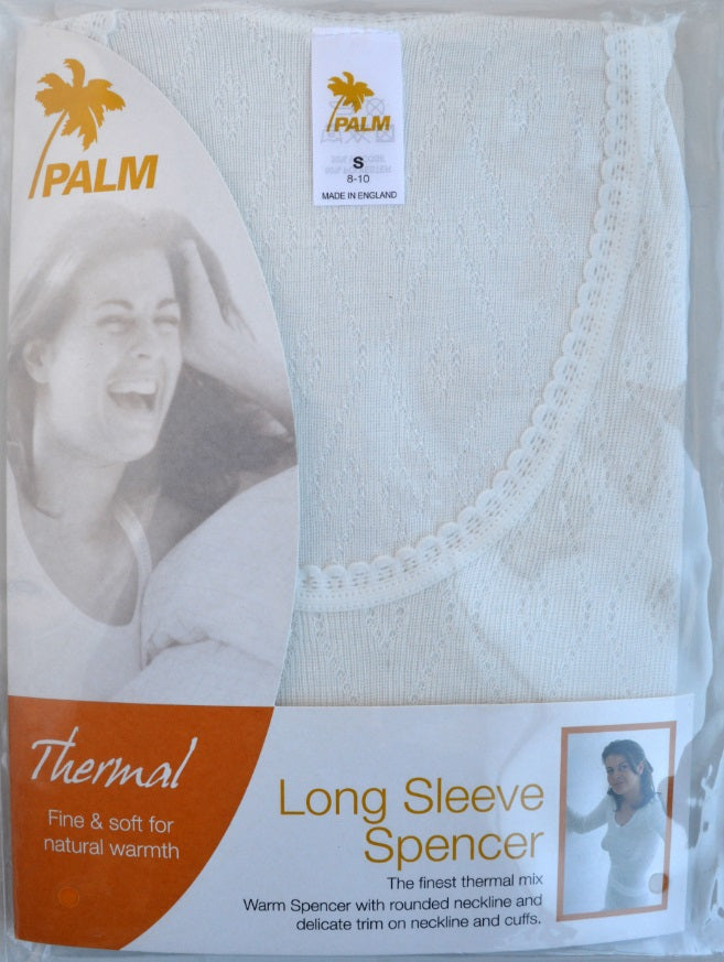 Palm British Made Ladies//Womens Thermal Fancy Knit Long Sleeve Spencer
