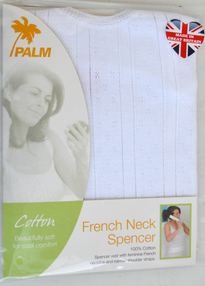 Palm British Made Ladies/Womens 100% Cotton Fancy Knit French Neck Spencer