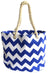 OCTAVE Summer Beach Tote Handbag Zigzag Design - Blue & White