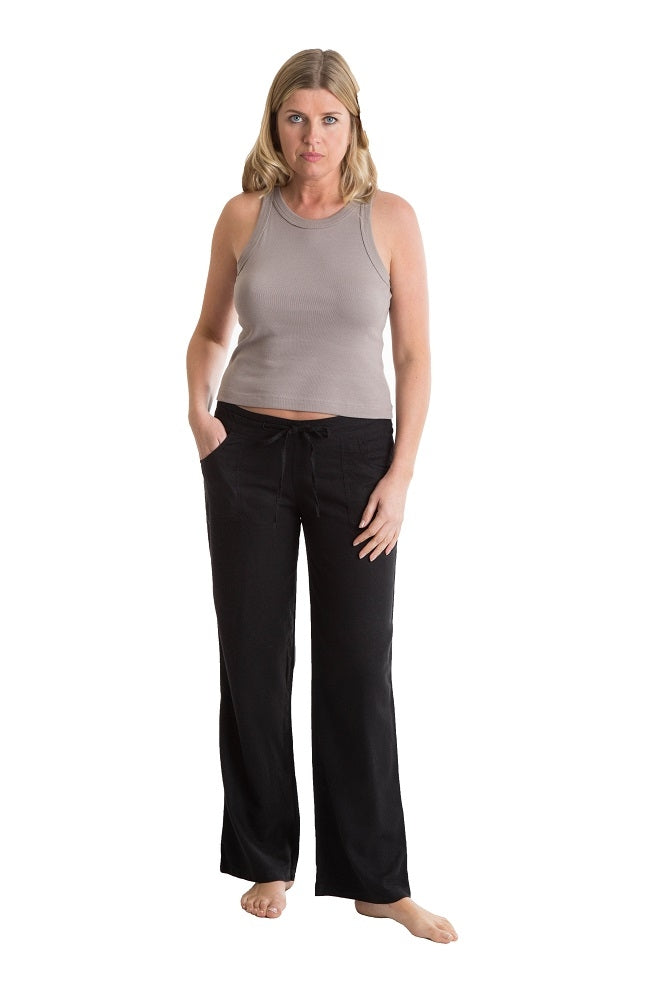 OCTAVE Ladies Linen Trousers -  Black (Front)