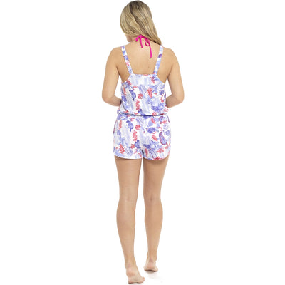 Playsuit Summer Beach Wear white floral striped back