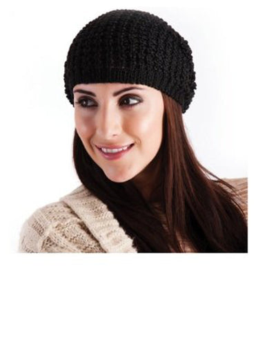 Ladies Knitted Slouch Beanie Hat Black