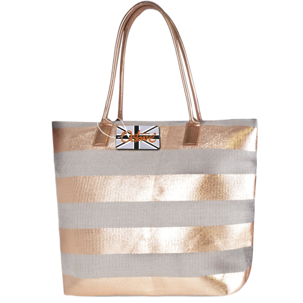 OCTAVE Ladies Summer Beach Tote Handbag Striped Design - Metallic Bronze