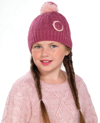 OCTAVE Girls Red Knitted Pom Pom / Bobble Hat With Round Flower Detail