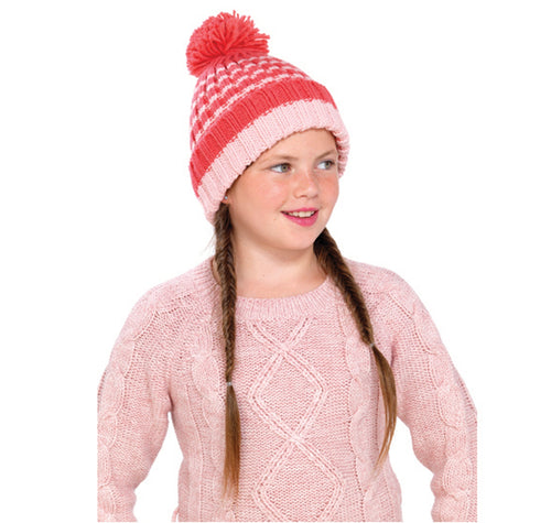 OCTAVE Girls Pink Striped Knitted Pom Pom / Bobble Hat