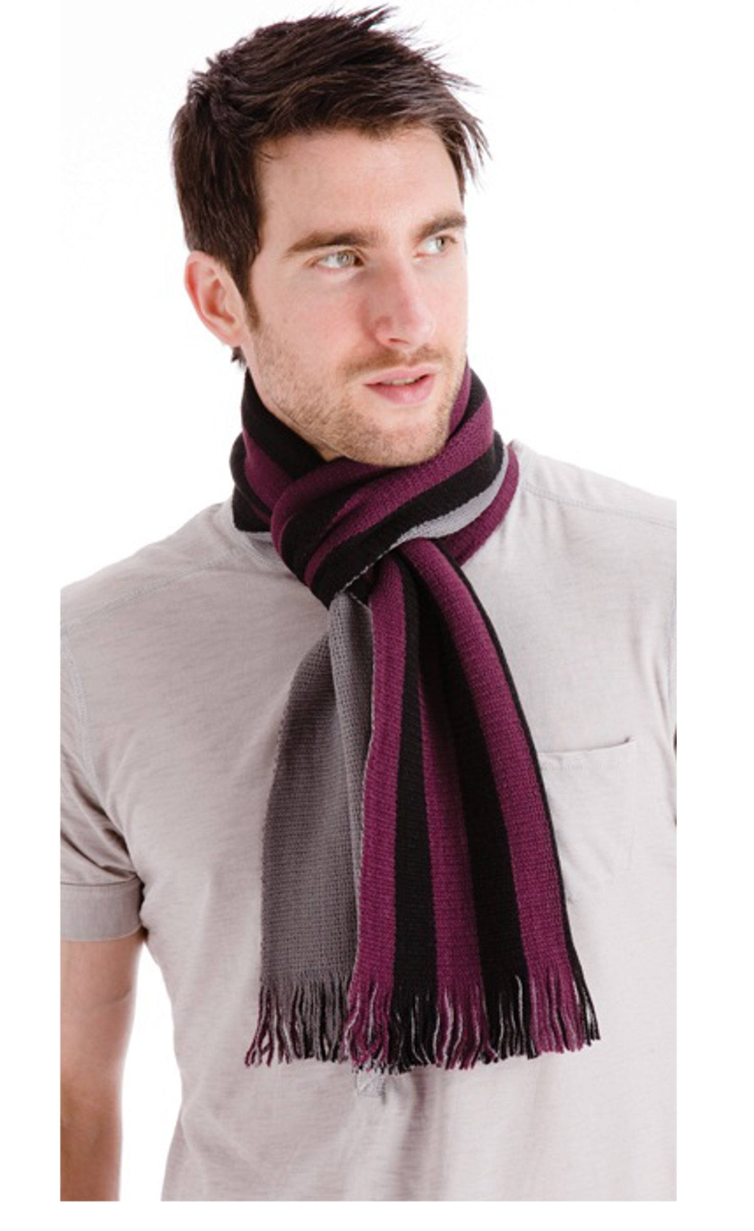OCTAVE Mens Reversible Scarf with Stripes