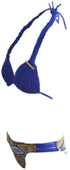 Ladies Fringe Bikini Set Blue Side View